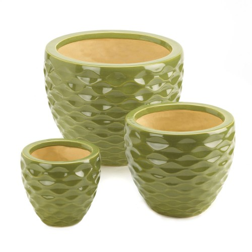 Ceramic Green Planter Set