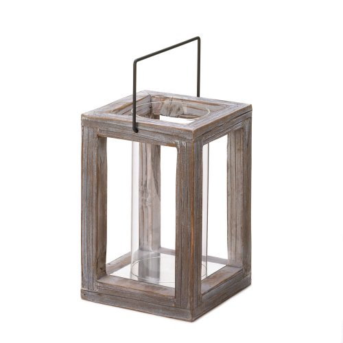 Distressed Wood Hurricane Lantern
