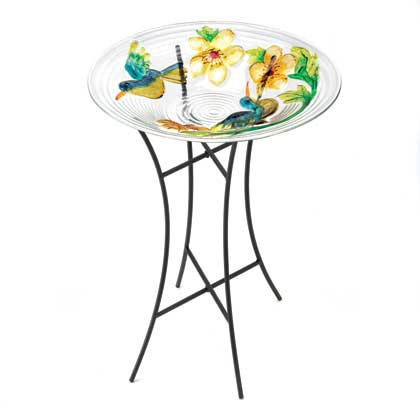 Colorful Glass Garden Birdbath