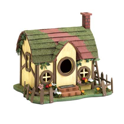 Mossy Roof Cottage Birdhouse